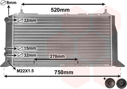 Radiateur, refroidissement du moteur - VAN WEZEL - 03002026