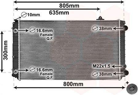 Radiateur, refroidissement du moteur - VAN WEZEL - 03002252