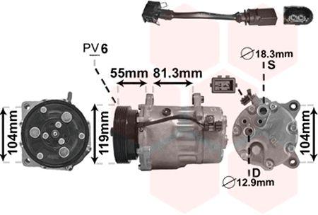 Compresseur, climatisation - VAN WEZEL - 0300K001