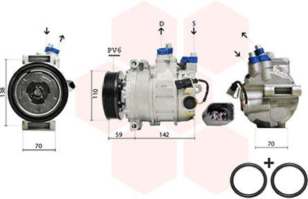 Compresseur, climatisation - VAN WEZEL - 0300K029