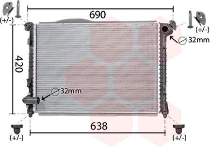 Radiateur, refroidissement du moteur - VAN WEZEL - 06002286