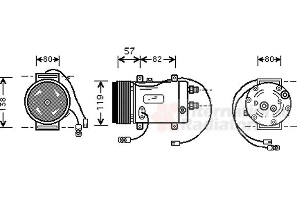 Compresseur, climatisation - VAN WEZEL - 0300K008