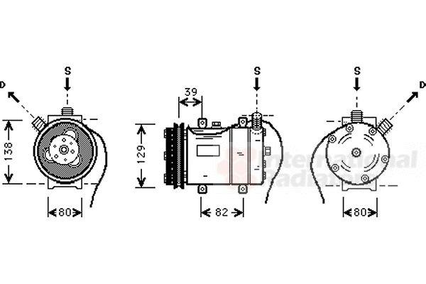 Compresseur, climatisation - VAN WEZEL - 0300K009