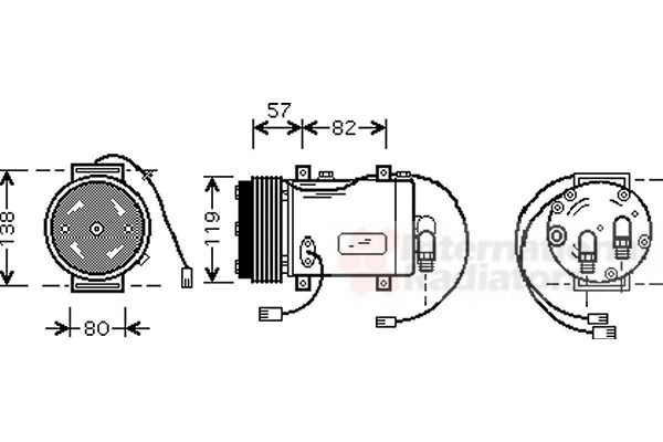 Compresseur, climatisation - VAN WEZEL - 0300K143