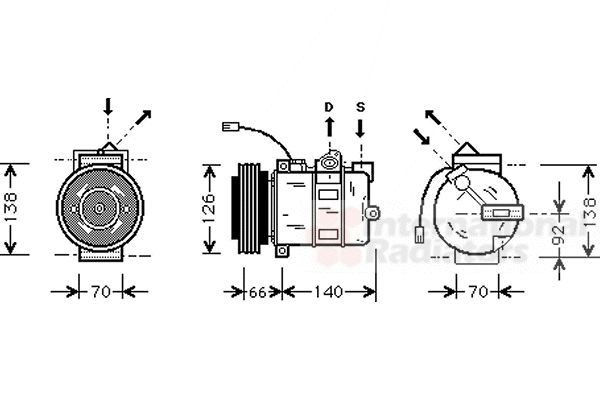 Compresseur, climatisation - VAN WEZEL - 0300K150