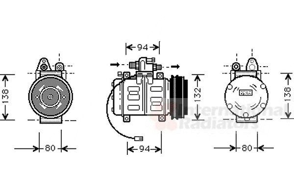 Compresseur, climatisation - VAN WEZEL - 0300K180