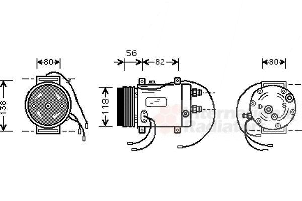 Compresseur, climatisation - VAN WEZEL - 0300K255