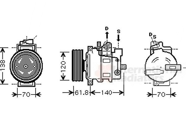 Compresseur, climatisation - VAN WEZEL - 0300K263