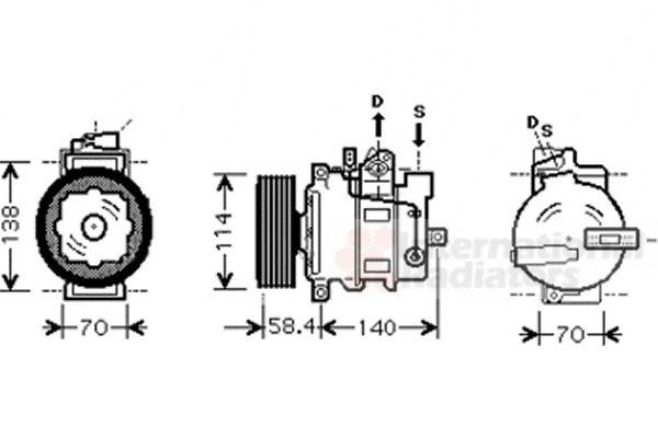 Compresseur, climatisation - VAN WEZEL - 0300K266
