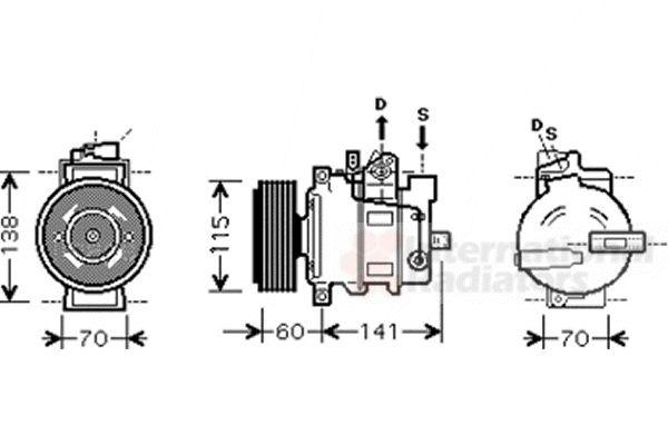 Compresseur, climatisation - VAN WEZEL - 0300K271