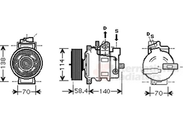 Compresseur, climatisation - VAN WEZEL - 0300K274