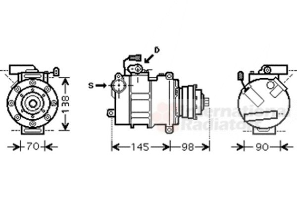 Compresseur, climatisation - VAN WEZEL - 0300K280