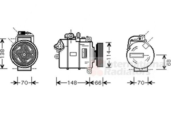 Compresseur, climatisation - VAN WEZEL - 0300K282