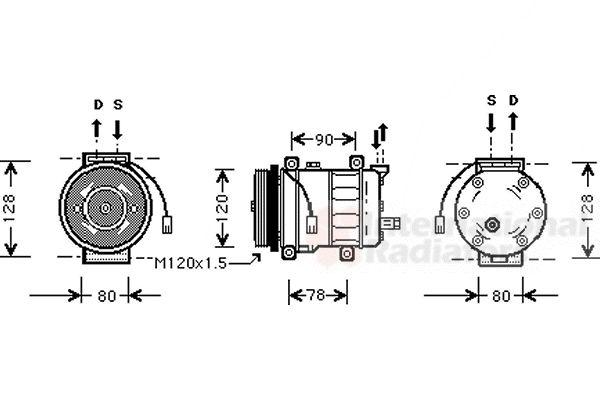 Compresseur, climatisation - VAN WEZEL - 0100K010