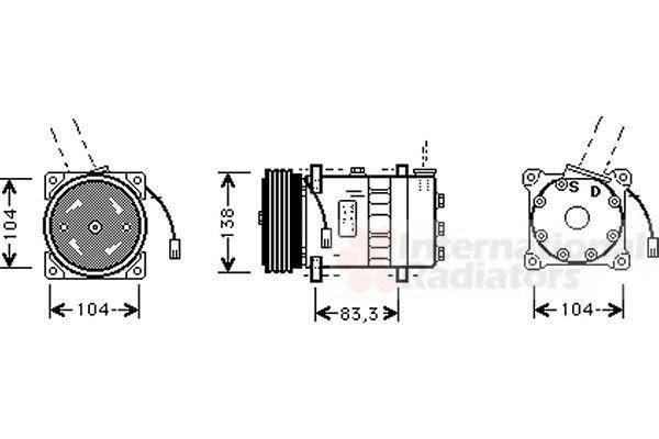 Compresseur, climatisation - VAN WEZEL - 0100K014