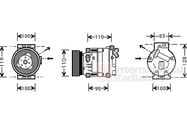 Compresseur, climatisation - VAN WEZEL - 0100K019