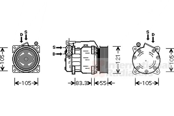 Compresseur, climatisation - VAN WEZEL - 0100K090