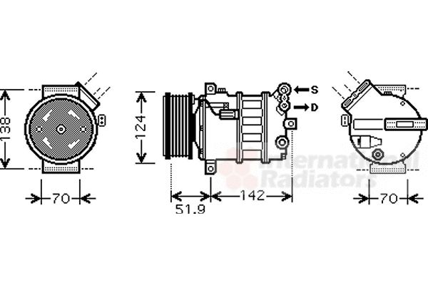 Compresseur, climatisation - VAN WEZEL - 0100K112