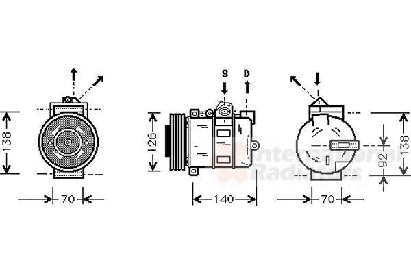 Compresseur, climatisation - VAN WEZEL - 0200K038