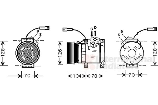Compresseur, climatisation - VAN WEZEL - 0200K168